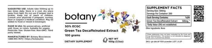 Green Tea Decaffeinated Extract | 50% ECGC – Powder, 100g