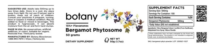 Bergamot Phytosome | 15%+ Flavanones – Powder, 50g