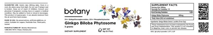 Ginkgo Biloba Phytosome   5%+ GFGs, 12%+ PS – Powder, 5g