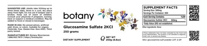 Glucosamine Sulfate 2KCl – Powder, 250g