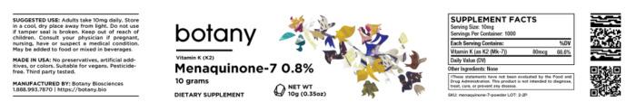 Menaquinone-7 | 0.8% Vitamin K2 (MK-7) – Powder, 10g