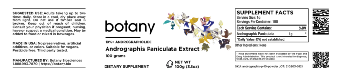 Green Chiretta (Andrographis Paniculata) | 10%+ Andrographolide – Powder, 100g