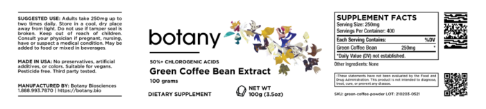 Green Coffee Bean | 50%+ Chlorogenic Acids – Powder, 100g