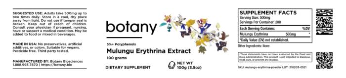 Mulungu (Erythrina Mulungu) | 5%+ Polyphenols – Powder, 100g