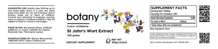 St John's Wort Extract | 0.30%+ Hypericin – Powder, 100g