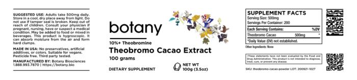 Cacao (Theobromo Cacao) | 10%+ Theobromine – Powder, 100g