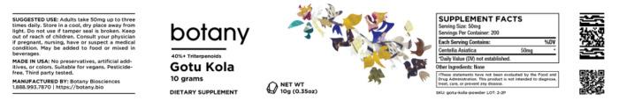 Gotu Kola (Centella Asiatica) | 40%+ Triterpenoids – Powder, 10g
