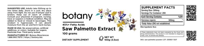 Saw Palmetto (Serenoa repens) | 45%+ Fatty Acids – Powder, 100g